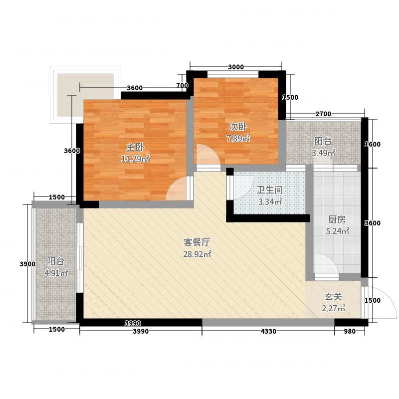 高诚尚峰83.14㎡B2户型2室2厅1卫1厨