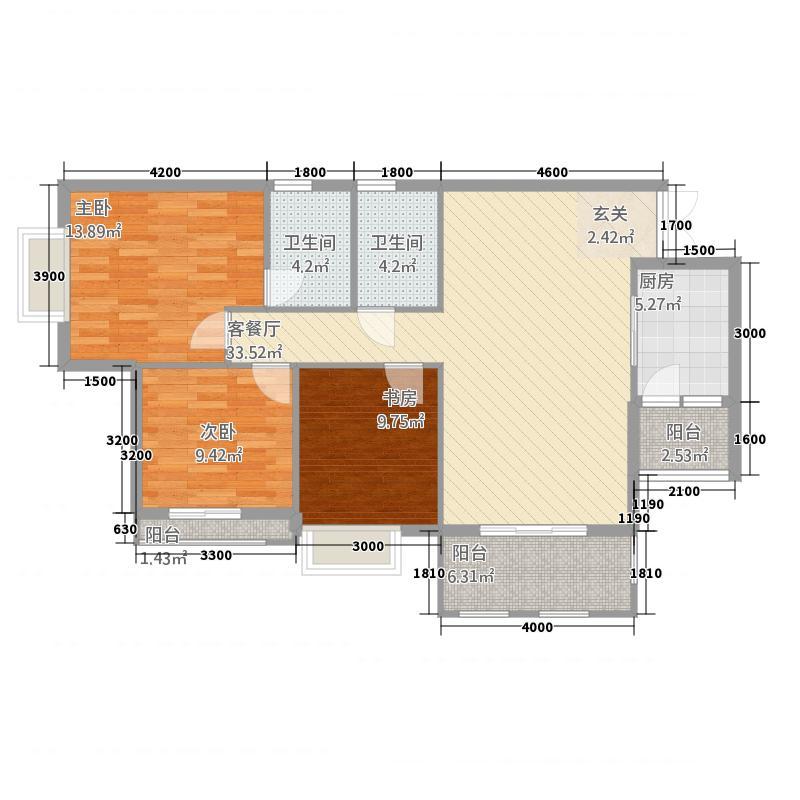 龙川半岛17.78㎡B-09单元三室双卫户型3室2厅2卫1厨
