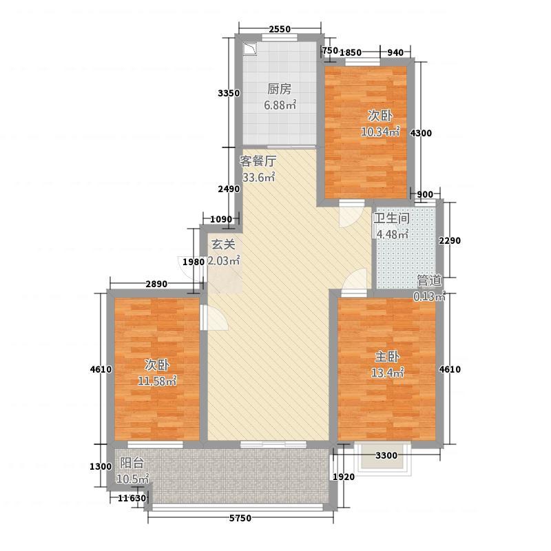 阳光国际12.21㎡18#户型3室2厅1卫1厨