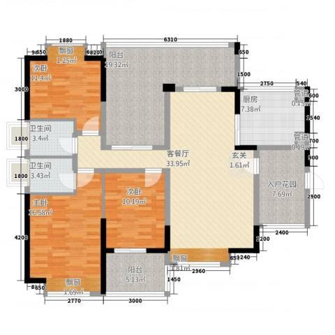 中珠上城3室1厅2卫1厨170.00㎡户型图