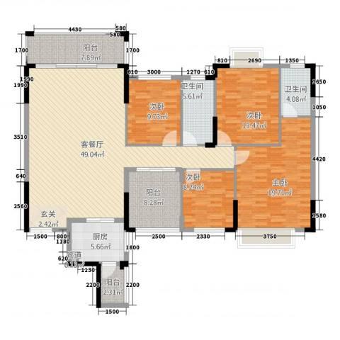 皇庭・御珑湾4室1厅2卫1厨215.00㎡户型图