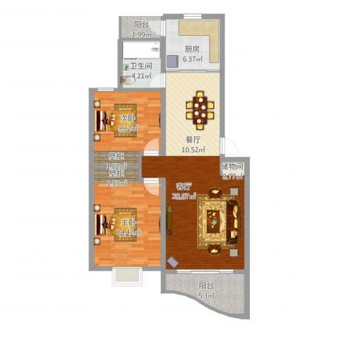 上大聚丰园2室1厅1卫1厨93.00㎡户型图