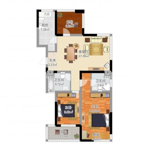 莱茵郡3室1厅2卫1厨121.00㎡户型图