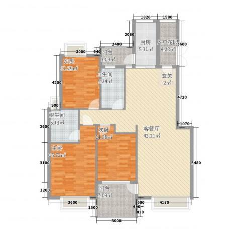 公园华府3室1厅2卫1厨133.00㎡户型图