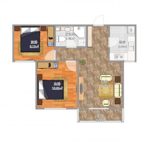 龙康新苑南区1号楼b户型2室1厅1卫1厨67.00㎡户型图