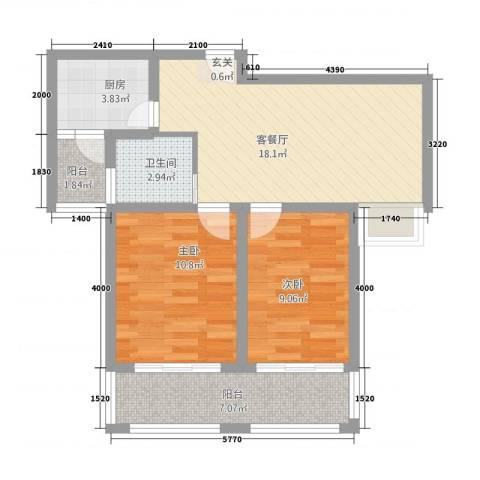 海洲铂兰庭2室1厅1卫1厨79.00㎡户型图