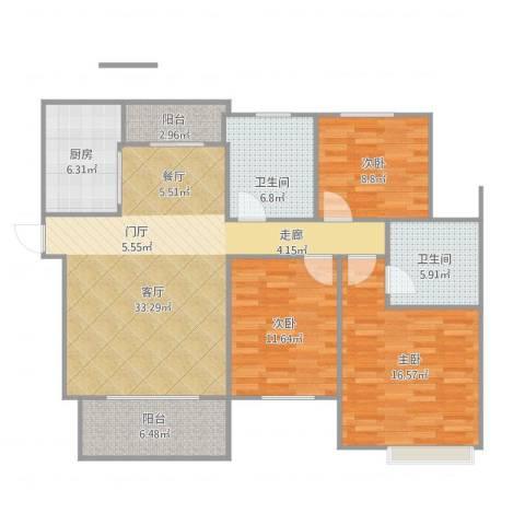 春江花园3室1厅2卫1厨133.00㎡户型图