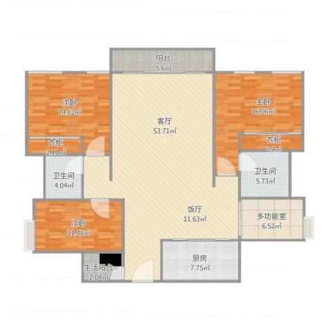 珠宾花园-4栋6033室1厅2卫1厨179.00㎡户型图