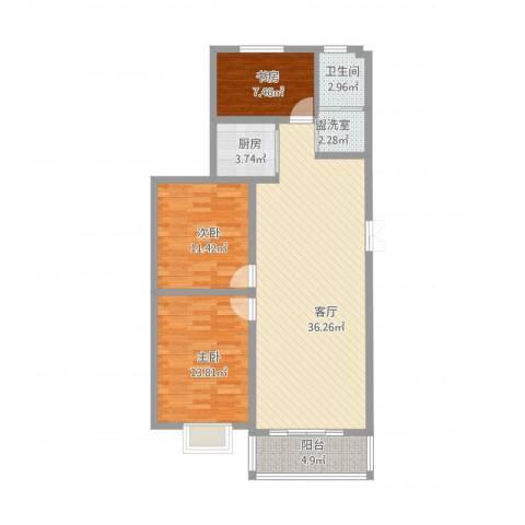 书香园3室2厅1卫1厨118.00㎡户型图