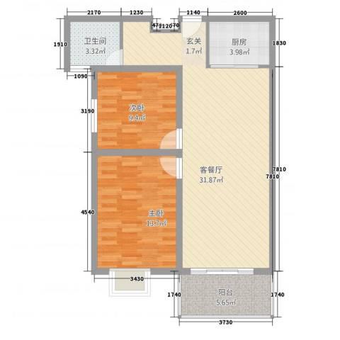 金宝莱2室1厅1卫1厨67.92㎡户型图