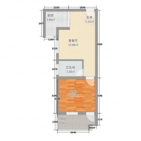 金宝莱1室1厅1卫1厨55.00㎡户型图