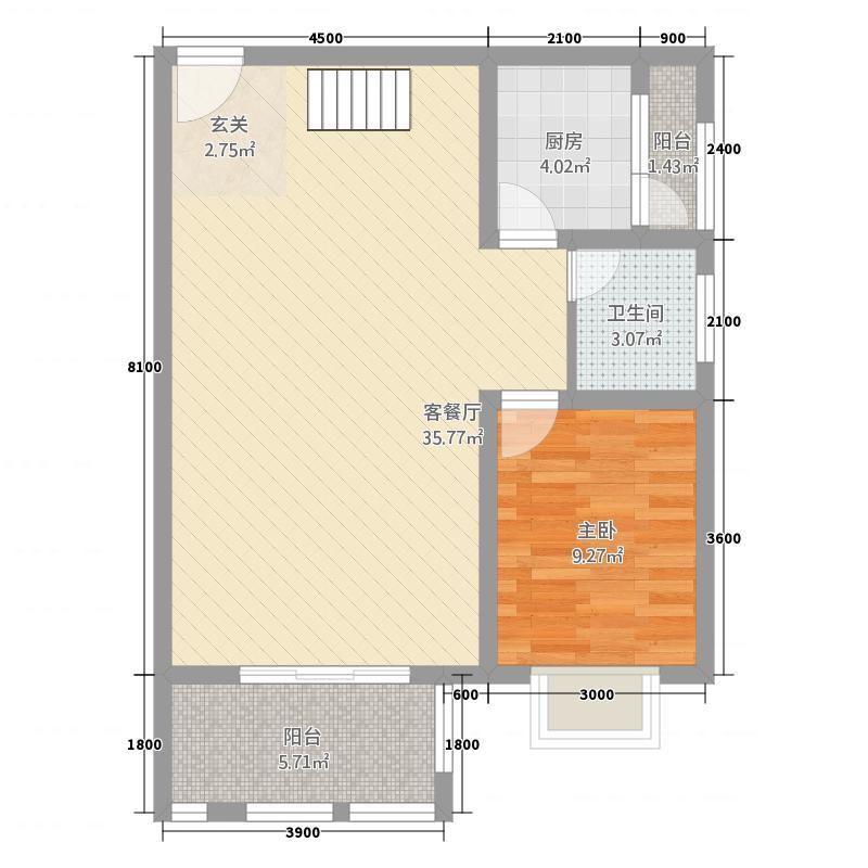 龙川半岛12.42㎡双卫B户型2室2厅2卫1厨