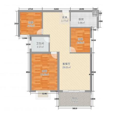 金宝莱3室1厅1卫1厨99.00㎡户型图