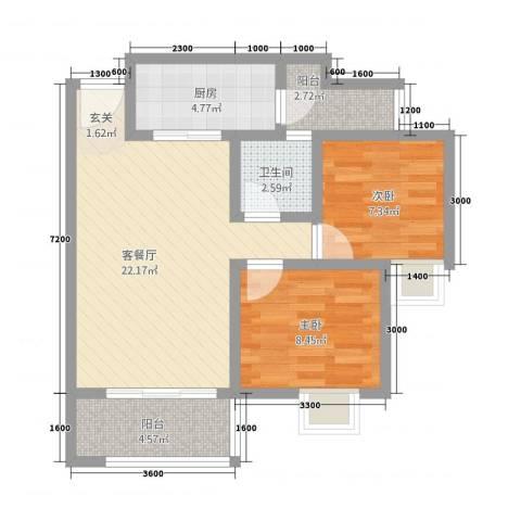翰林尚城2室1厅1卫1厨62.58㎡户型图