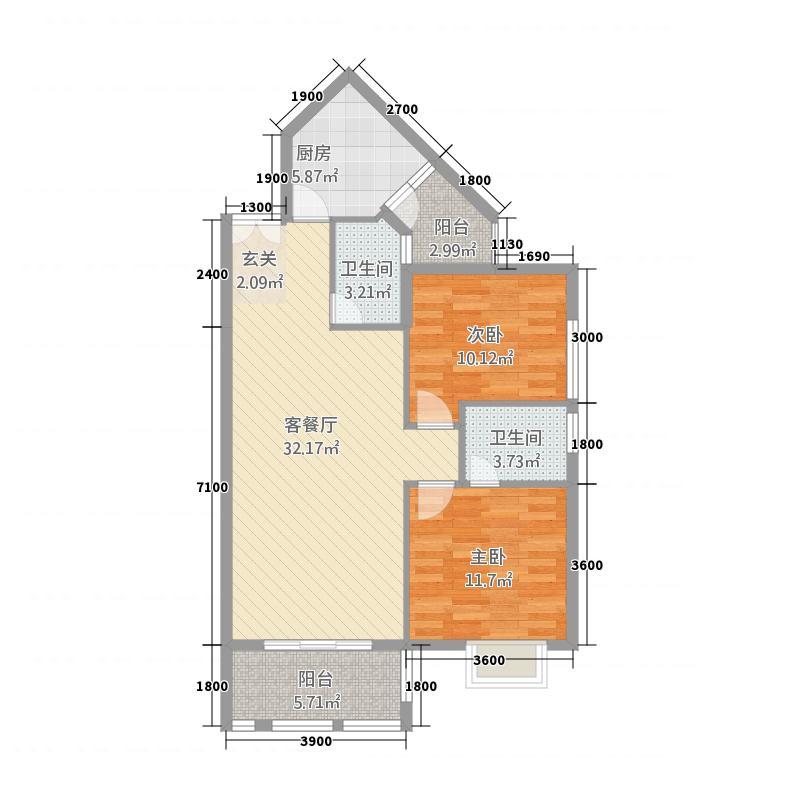 龙川半岛3.23㎡D-03单元两室双卫户型2室2厅2卫1厨