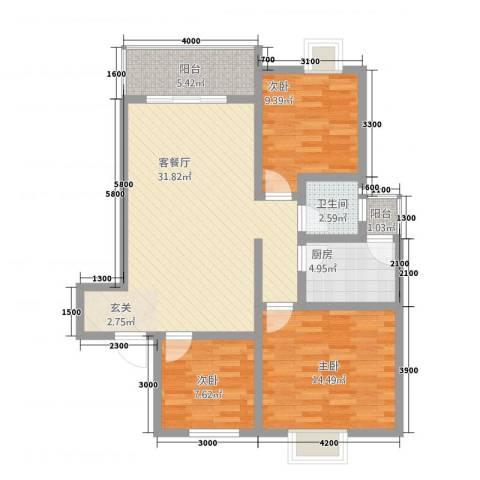 翰林尚城3室1厅1卫1厨89.30㎡户型图