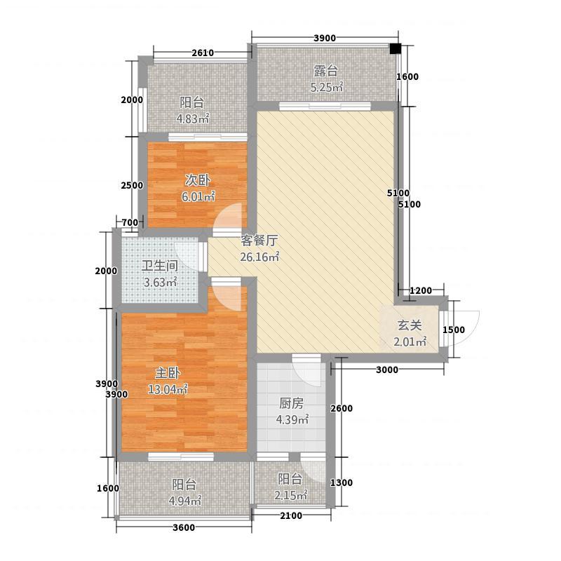 翰林尚城7.14㎡D2户型2室2厅1卫1厨