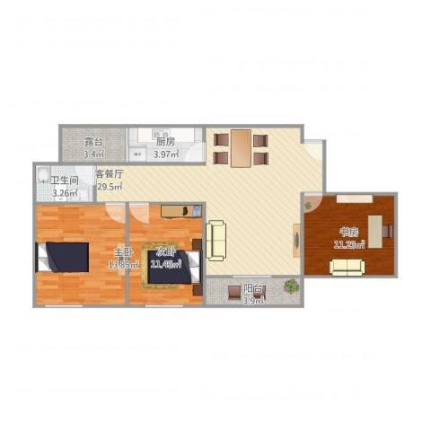 金科公园王府3室1厅1卫1厨109.00㎡户型图