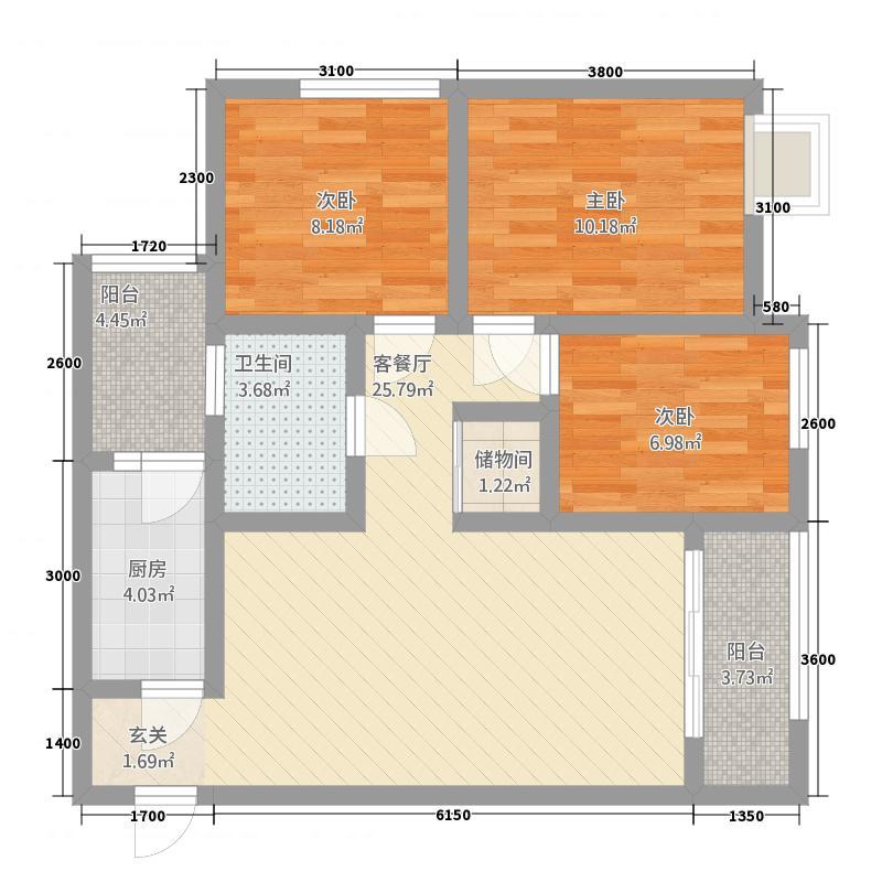 新里程尊域33.36㎡B3户型3室2厅1卫1厨