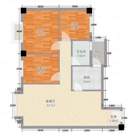 祥云阁3室1厅1卫1厨73.59㎡户型图