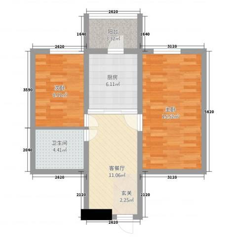 安通家园2室1厅1卫1厨48.36㎡户型图