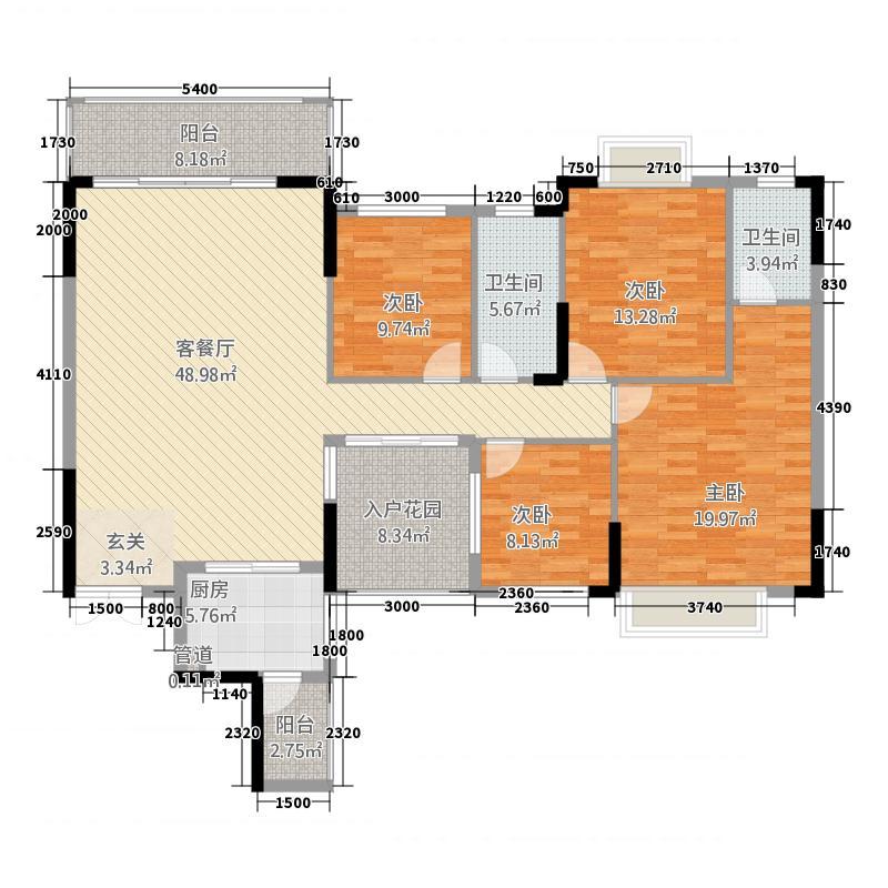 皇庭・御珑湾215.20㎡C2户型4室2厅2卫1厨