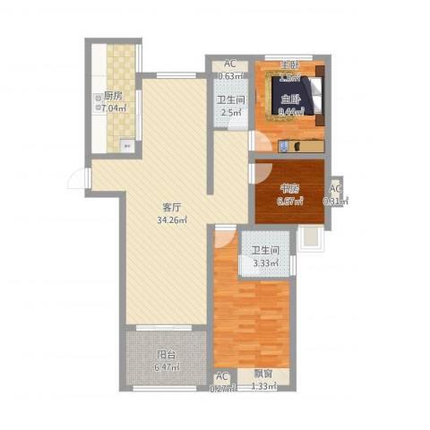 天瑞绿洲3室1厅2卫1厨123.00㎡户型图