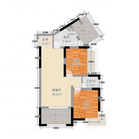 枫�398F区2室1厅1卫1厨85.00㎡户型图
