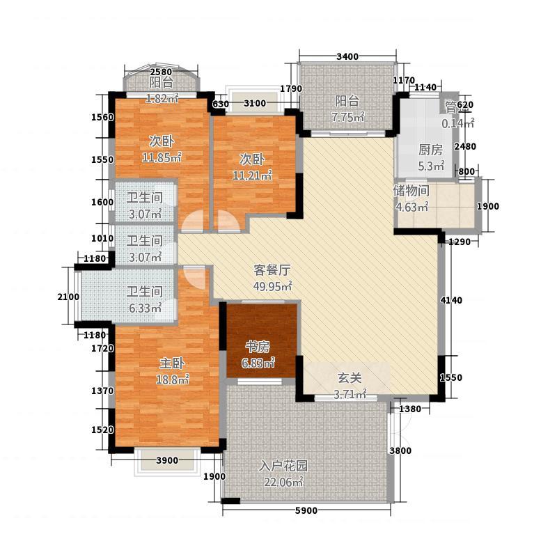皇庭・御珑湾218.20㎡D2户型5室2厅2卫1厨