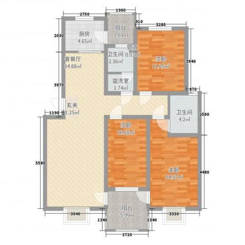 金色奥园3室2厅2卫1厨134.00㎡户型图