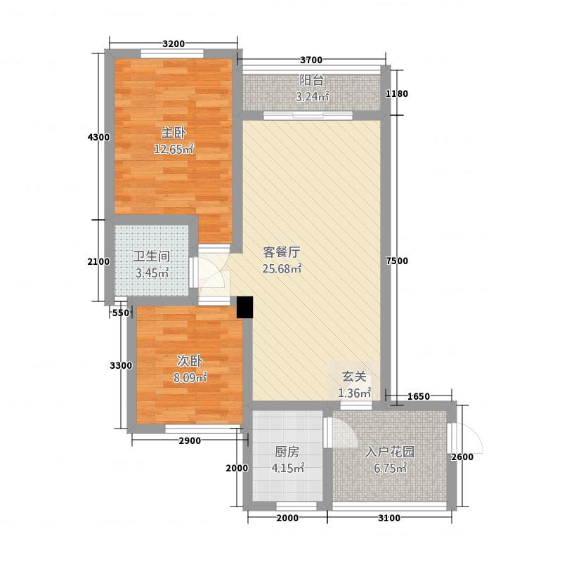 新里程尊域187.22㎡B1户型2室2厅1卫1厨