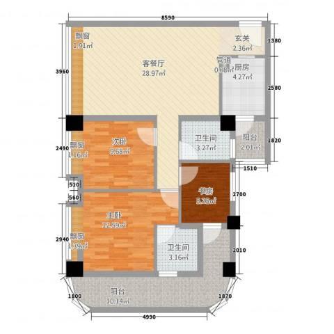 长兴江岸精典3室1厅2卫1厨116.00㎡户型图