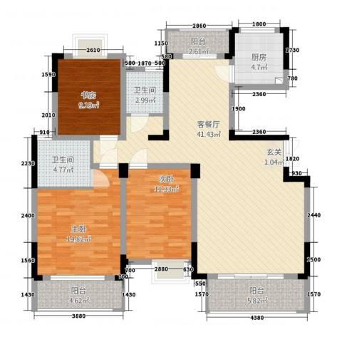 联泰香域滨江3室1厅2卫1厨141.00㎡户型图