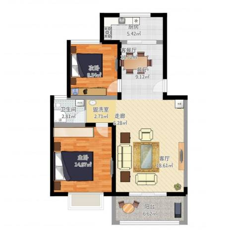 金海岸花园2室1厅1卫1厨108.00㎡户型图