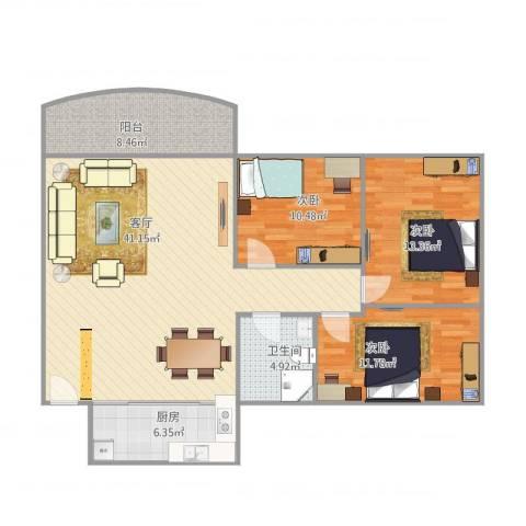 碧翠华庭1-10023室1厅1卫1厨129.00㎡户型图