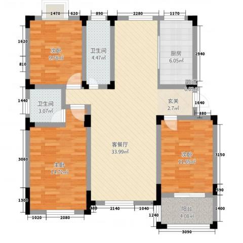 御水天成3室1厅2卫1厨126.00㎡户型图