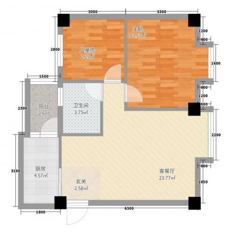 祥云阁2室1厅1卫1厨54.54㎡户型图
