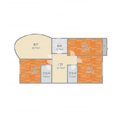 燕宇艺术城3室1厅2卫1厨130.00㎡户型图