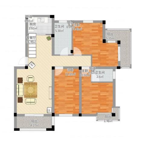 鑫达・风和日丽3室1厅2卫1厨128.00㎡户型图