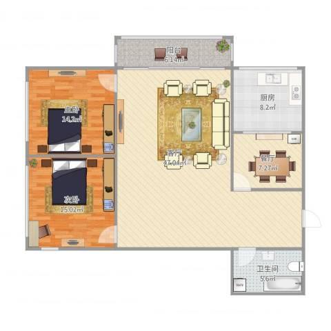 盛滨花园2室2厅1卫1厨138.00㎡户型图