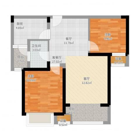 宝龙城2室1厅1卫1厨82.00㎡户型图