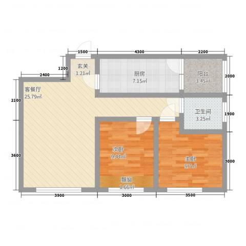新里程尊域2室1厅1卫1厨481.00㎡户型图