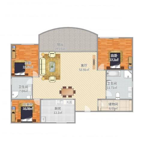 沙面新城天亭阁8013室1厅2卫1厨200.00㎡户型图