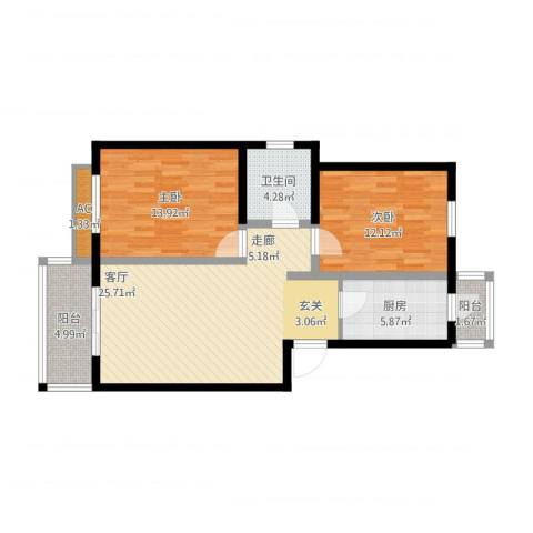 新兴骏景园2室1厅1卫1厨102.00㎡户型图