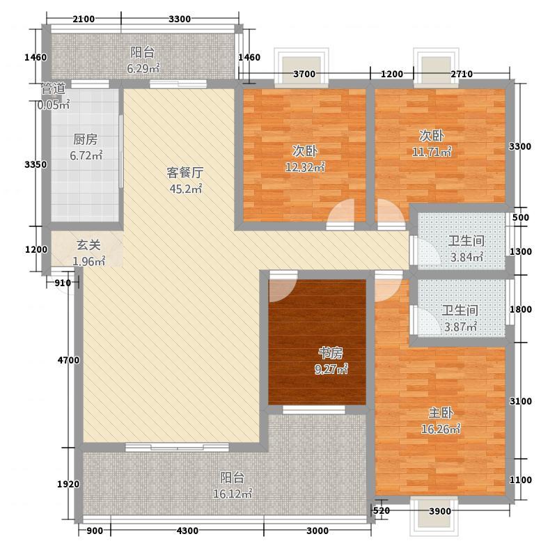 御泽园15.00㎡二栋B1户型4室2厅2卫1厨