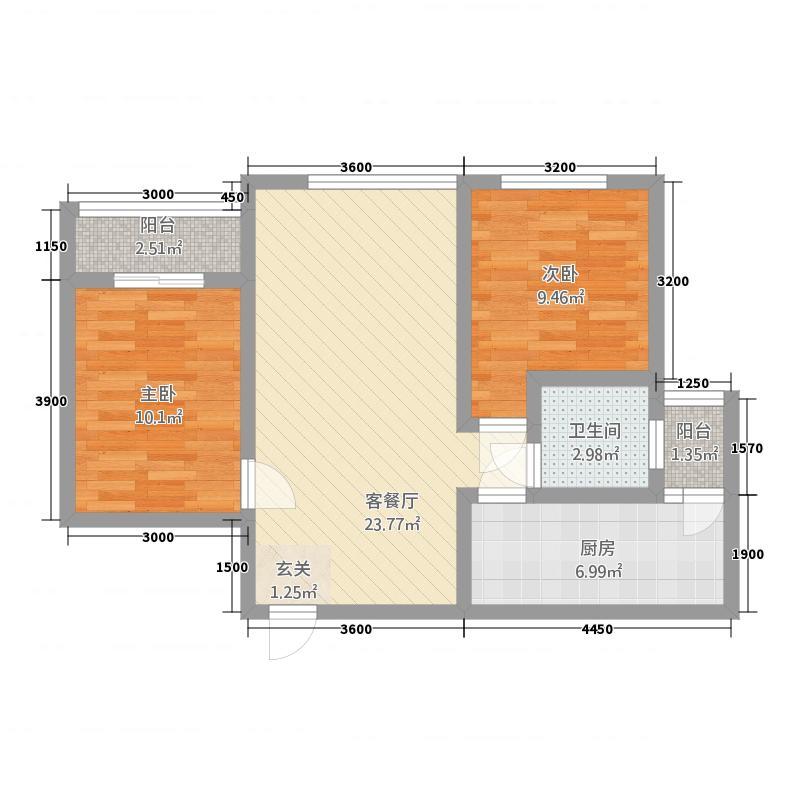 新里程尊域28.57㎡A2户型2室2厅1卫1厨