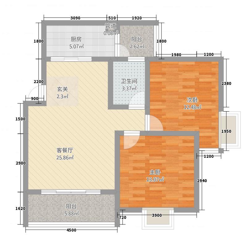 御泽园8.46㎡三栋L2户型2室2厅1卫1厨
