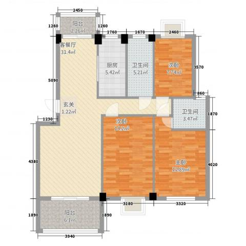 金嘉名筑3室1厅2卫1厨125.00㎡户型图