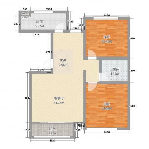 幸福里(满城)2室1厅1卫1厨108.00㎡户型图