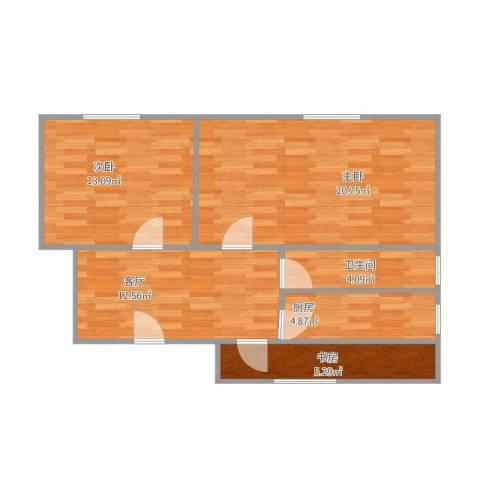 水星阁3室1厅1卫1厨82.00㎡户型图